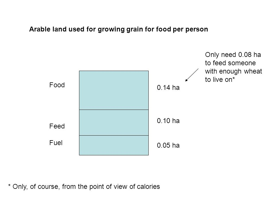 Arable land used for growing grain for food per person Food Feed Fuel 0.14 ha 0.10 ha 0.05 ha Only need 0.08 ha to feed someone with enough wheat to live on* * Only, of course, from the point of view of calories