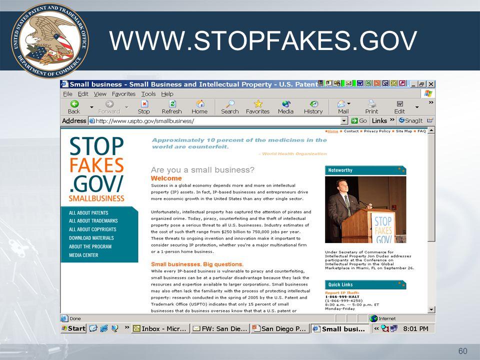 59 WWW.STOPFAKES.GOV