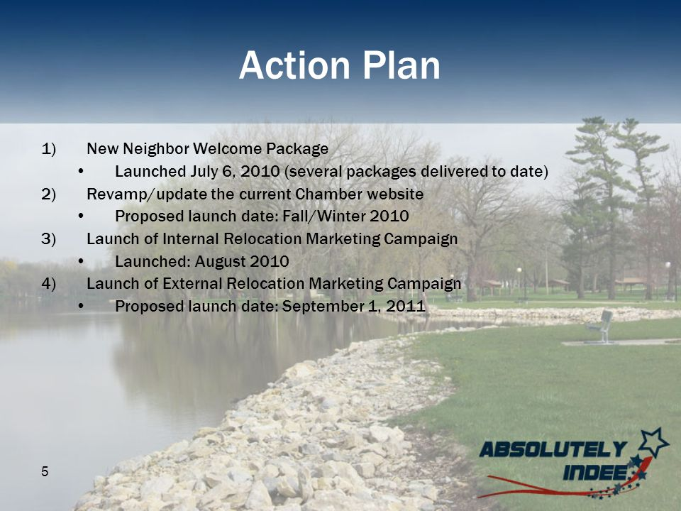 5 Action Plan 1)New Neighbor Welcome Package Launched July 6, 2010 (several packages delivered to date) 2)Revamp/update the current Chamber website Pr