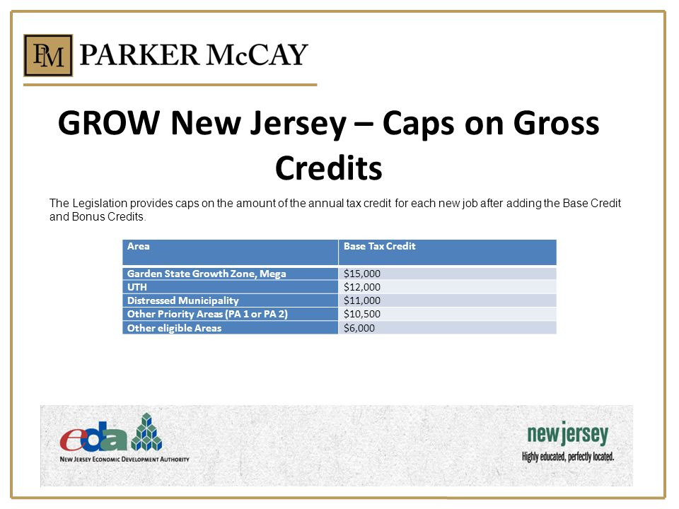 GROW New Jersey – Caps on Gross Credits AreaBase Tax Credit Garden State Growth Zone, Mega$15,000 UTH$12,000 Distressed Municipality$11,000 Other Priority Areas (PA 1 or PA 2)$10,500 Other eligible Areas$6,000 The Legislation provides caps on the amount of the annual tax credit for each new job after adding the Base Credit and Bonus Credits.