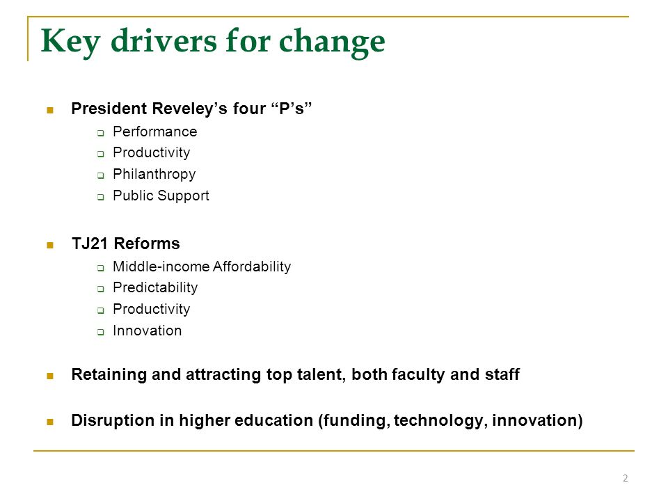 Key drivers for change President Reveleys four Ps Performance Productivity Philanthropy Public Support TJ21 Reforms Middle-income Affordability Predic