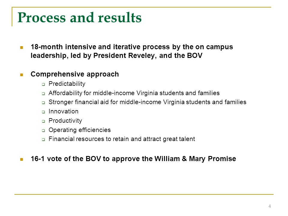 Process and results 18-month intensive and iterative process by the on campus leadership, led by President Reveley, and the BOV Comprehensive approach