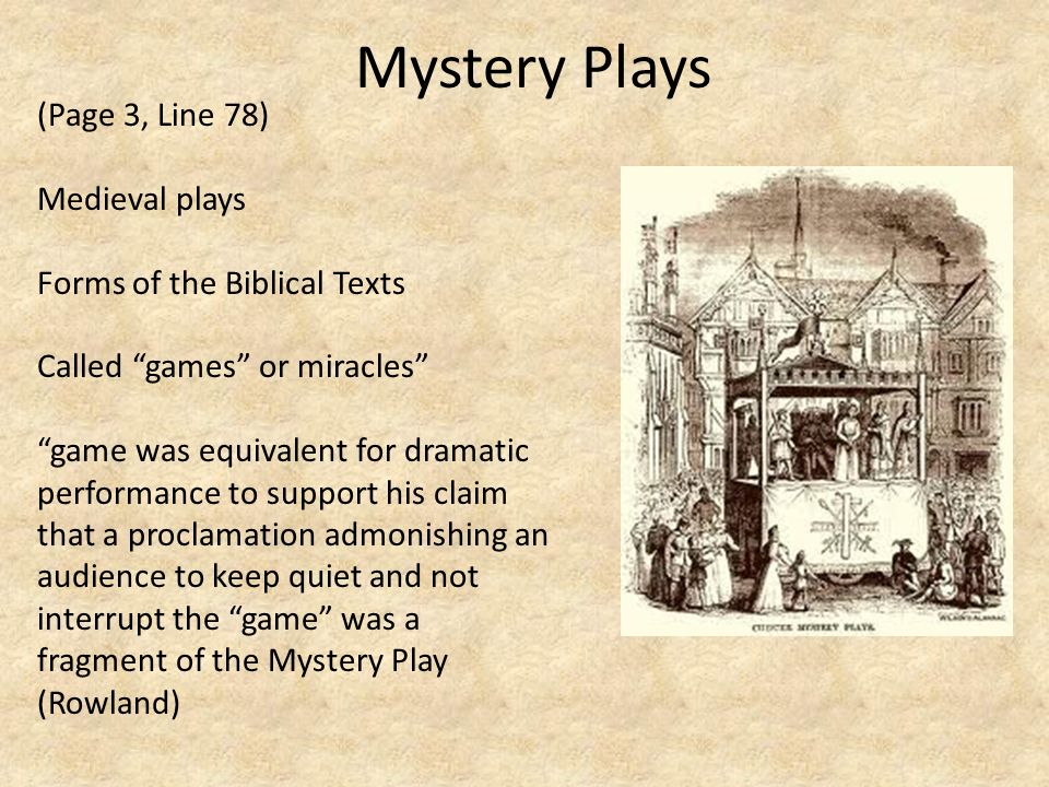 Mystery Plays (Page 3, Line 78) Medieval plays Forms of the Biblical Texts Called games or miracles game was equivalent for dramatic performance to su