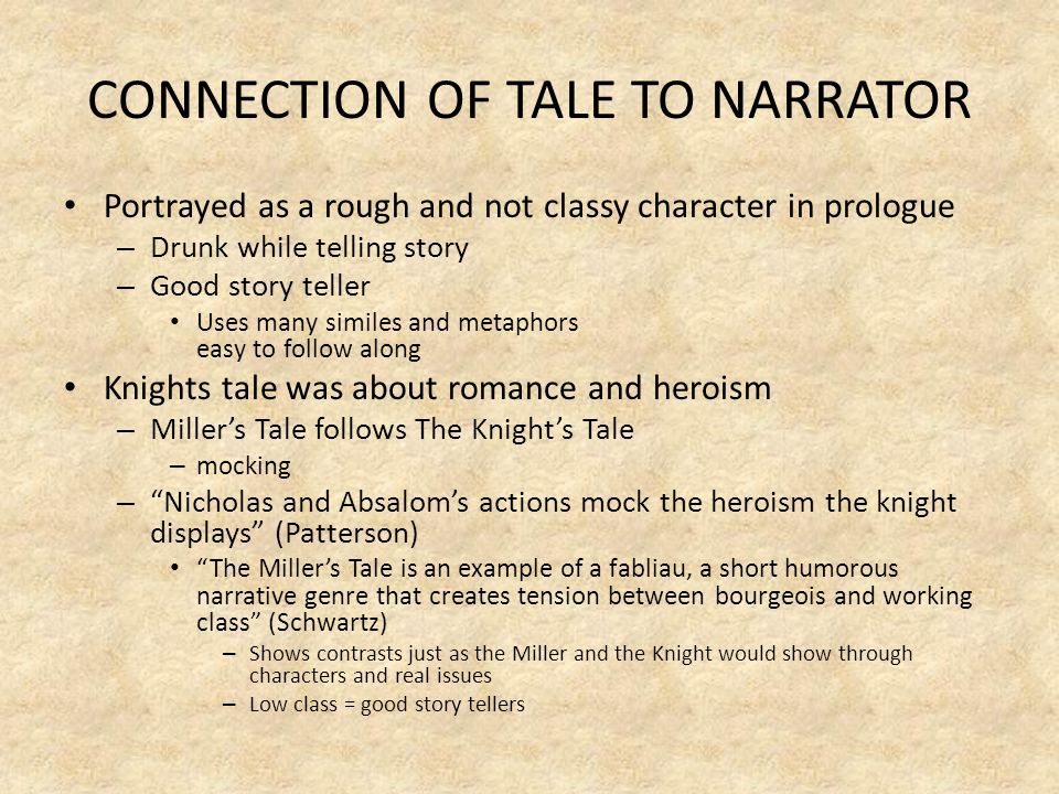 CONNECTION OF TALE TO NARRATOR Portrayed as a rough and not classy character in prologue – Drunk while telling story – Good story teller Uses many sim