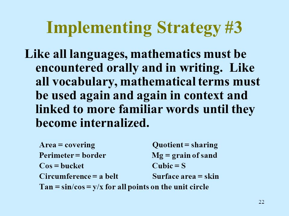 22 Implementing Strategy #3 Like all languages, mathematics must be encountered orally and in writing. Like all vocabulary, mathematical terms must be