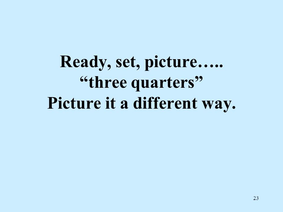 23 Ready, set, picture….. three quarters Picture it a different way.