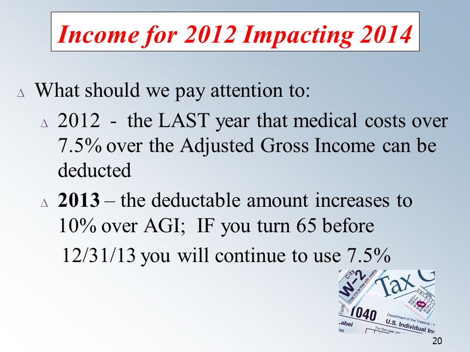 20 Income for 2012 Impacting 2014 Δ What should we pay attention to: Δ the LAST year that medical costs over 7.5% over the Adjusted Gross Income can be deducted Δ 2013 – the deductable amount increases to 10% over AGI; IF you turn 65 before 12/31/13 you will continue to use 7.5%