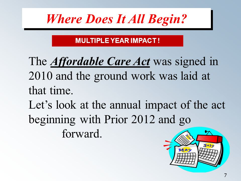 7 The Affordable Care Act was signed in 2010 and the ground work was laid at that time.