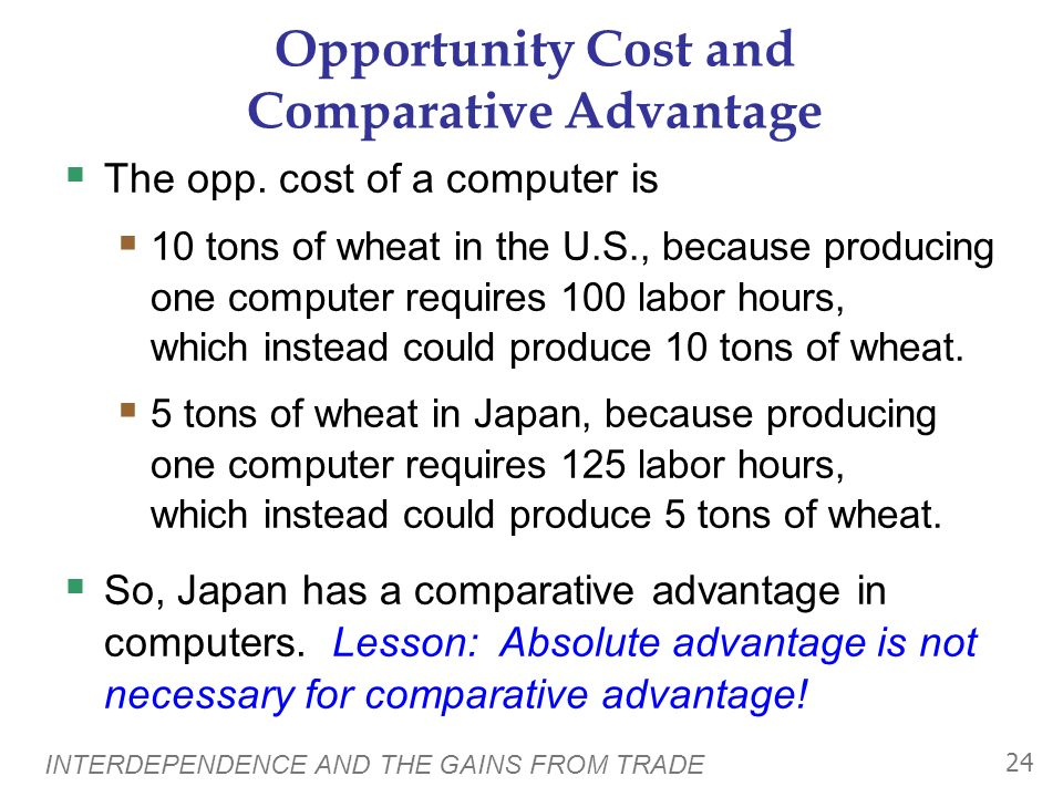 INTERDEPENDENCE AND THE GAINS FROM TRADE 23 Opportunity Cost and Comparative Advantage Comparative advantage: the ability to produce a good at a lower opportunity cost than another producer Which country has the comparative advantage in computers.