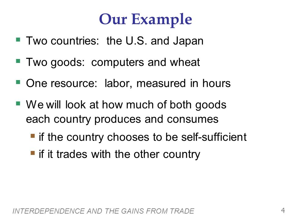 INTERDEPENDENCE AND THE GAINS FROM TRADE 3 Interdependence One of the Ten Principles from Chapter 1: Trade can make everyone better off.