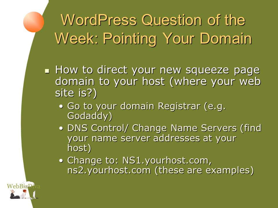 WordPress Question of the Week: Pointing Your Domain How to direct your new squeeze page domain to your host (where your web site is ) How to direct your new squeeze page domain to your host (where your web site is ) Go to your domain Registrar (e.g.