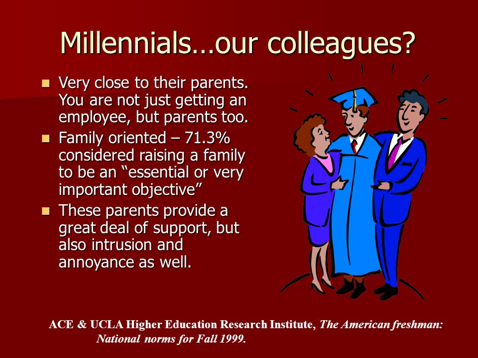 Millennials…our colleagues? Very close to their parents. You are not just getting an employee, but parents too. Very close to their parents. You are n