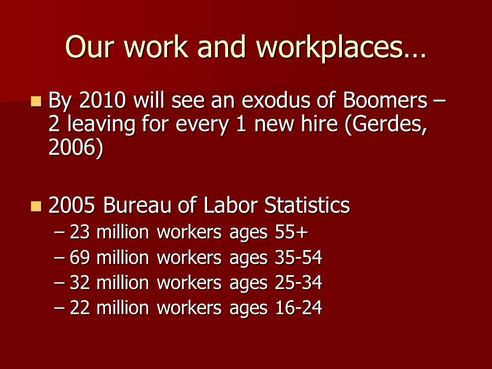 Our work and workplaces… By 2010 will see an exodus of Boomers – 2 leaving for every 1 new hire (Gerdes, 2006) By 2010 will see an exodus of Boomers –