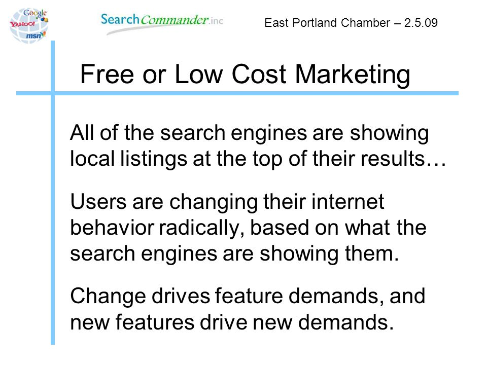 Free or Low Cost Marketing Begin with GetListed.org - East Portland Chamber – 2.5.09