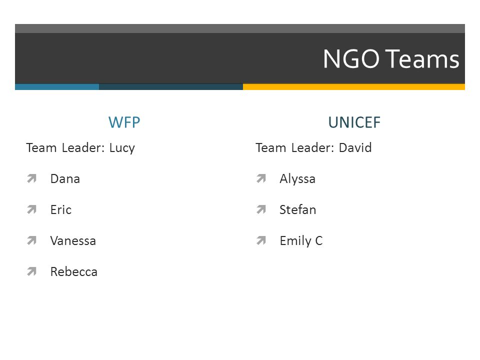 NGO Teams WFP Team Leader: Lucy Dana Eric Vanessa Rebecca UNICEF Team Leader: David Alyssa Stefan Emily C