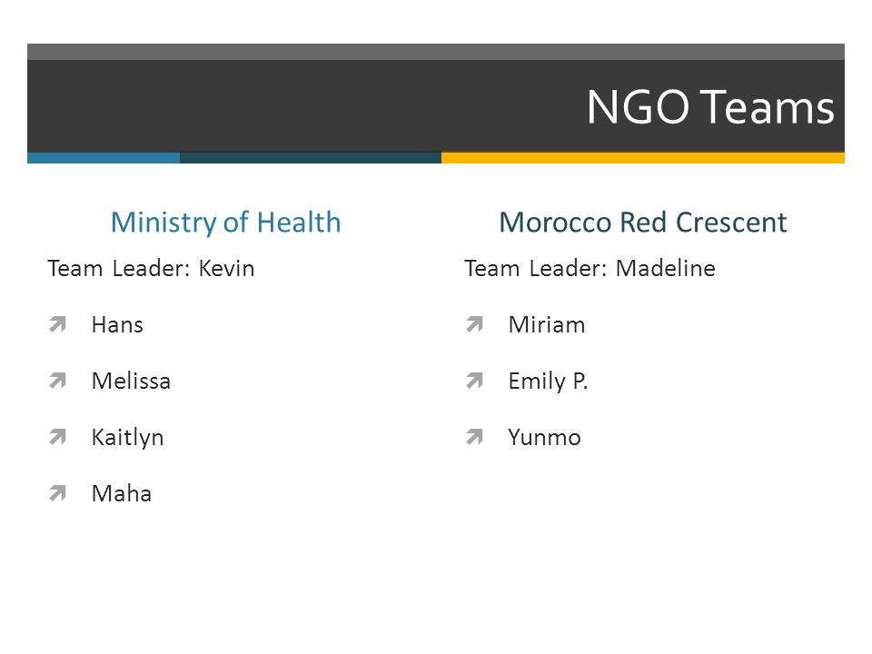 NGO Teams Ministry of Health Team Leader: Kevin Hans Melissa Kaitlyn Maha Morocco Red Crescent Team Leader: Madeline Miriam Emily P.