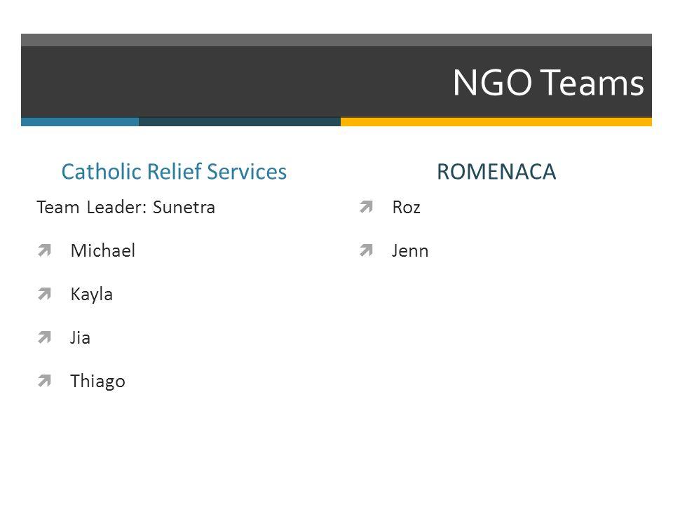 NGO Teams Catholic Relief Services Team Leader: Sunetra Michael Kayla Jia Thiago ROMENACA Roz Jenn