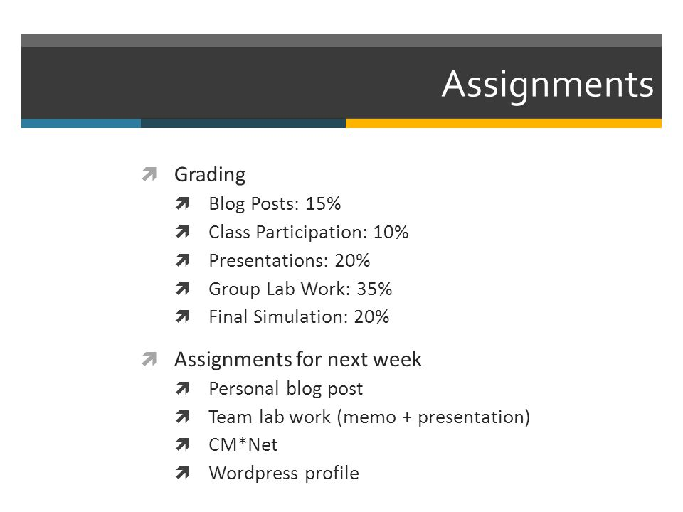 Assignments Grading Blog Posts: 15% Class Participation: 10% Presentations: 20% Group Lab Work: 35% Final Simulation: 20% Assignments for next week Personal blog post Team lab work (memo + presentation) CM*Net Wordpress profile