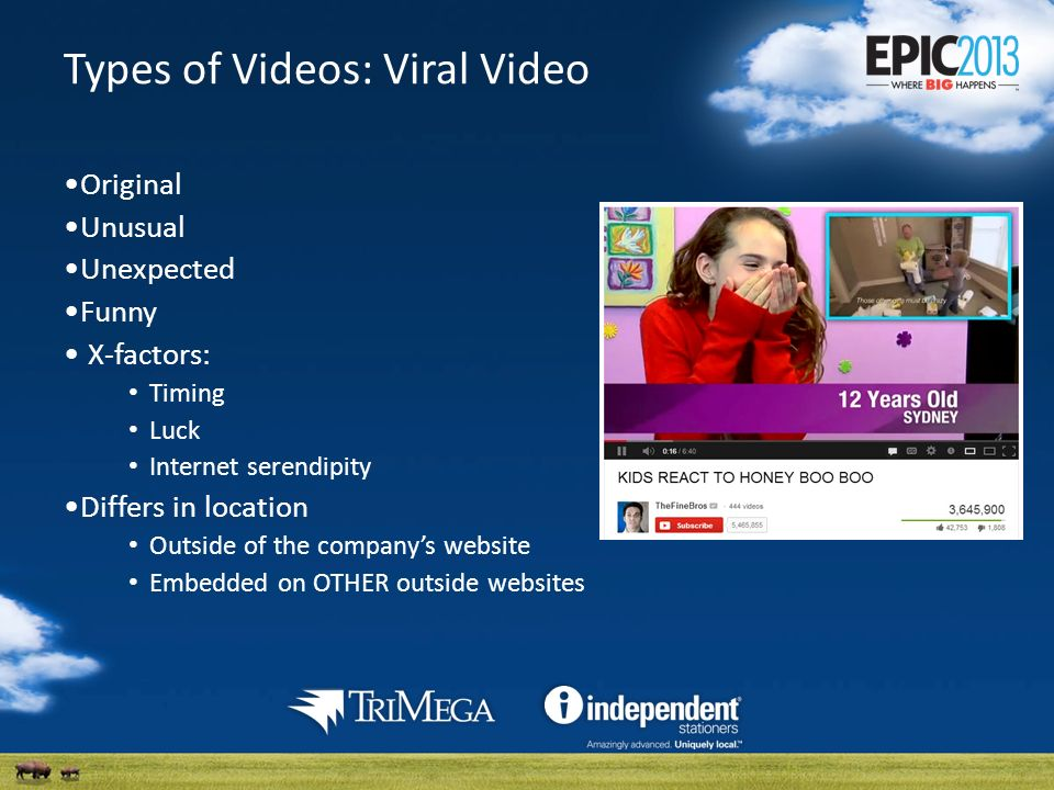 Types of Videos: Viral Video Original Unusual Unexpected Funny X-factors: Timing Luck Internet serendipity Differs in location Outside of the companys website Embedded on OTHER outside websites