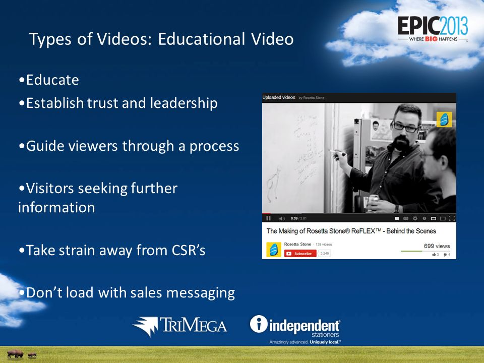 Types of Videos: Educational Video Educate Establish trust and leadership Guide viewers through a process Visitors seeking further information Take strain away from CSRs Dont load with sales messaging