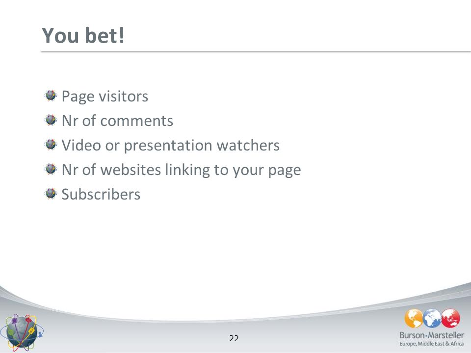 22 You bet! Page visitors Nr of comments Video or presentation watchers Nr of websites linking to your page Subscribers