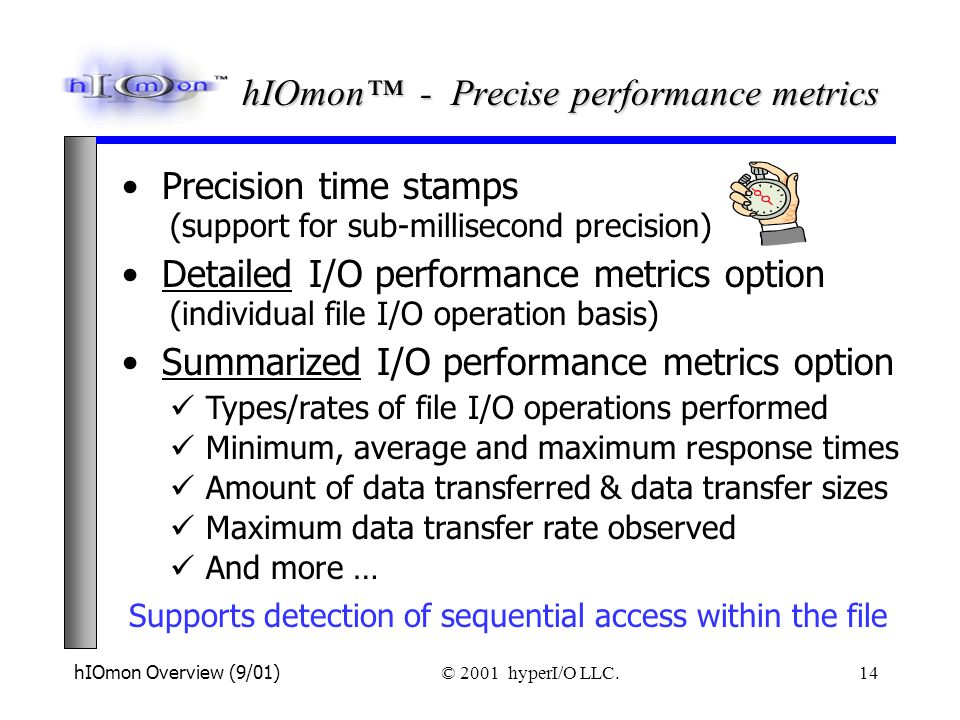 hIOmon Overview (9/01) © 2001 hyperI/O LLC. 14 Supports detection of sequential access within the file Detailed I/O performance metrics option (indivi