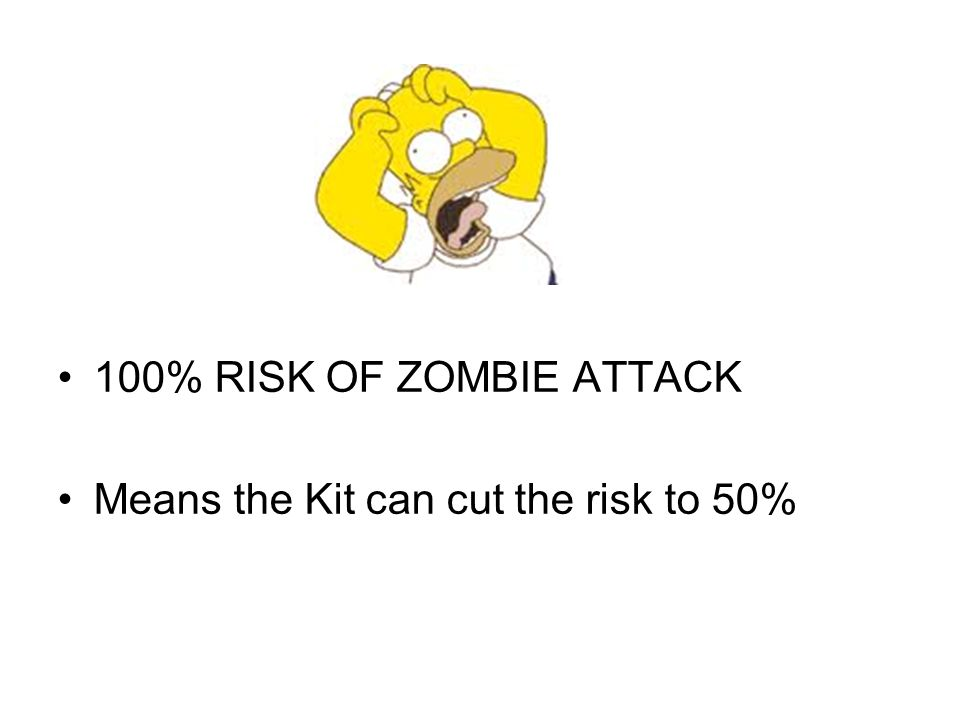100% RISK OF ZOMBIE ATTACK Means the Kit can cut the risk to 50%
