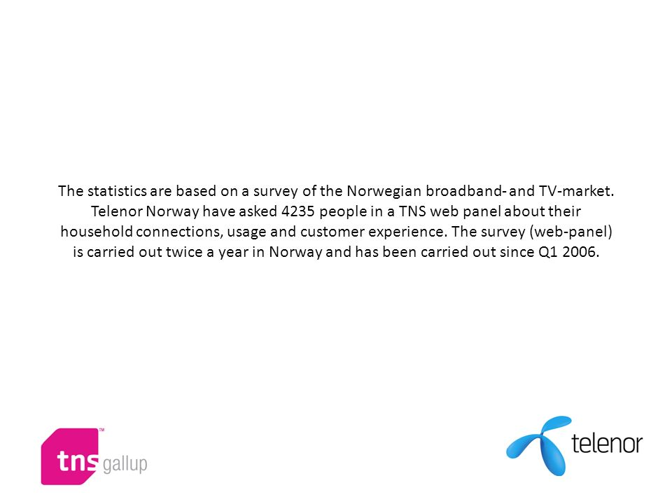 The statistics are based on a survey of the Norwegian broadband- and TV-market. Telenor Norway have asked 4235 people in a TNS web panel about their h