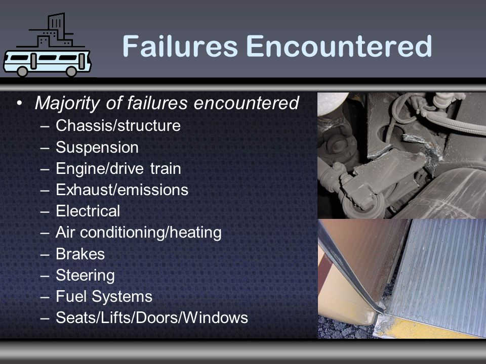 Failures Encountered Majority of failures encountered –Chassis/structure –Suspension –Engine/drive train –Exhaust/emissions –Electrical –Air conditioning/heating –Brakes –Steering –Fuel Systems –Seats/Lifts/Doors/Windows