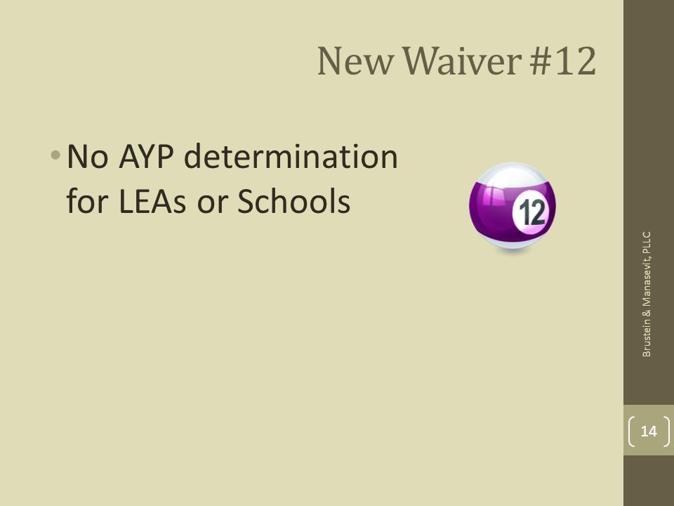 New Waiver #12 No AYP determination for LEAs or Schools 14 Brustein & Manasevit, PLLC