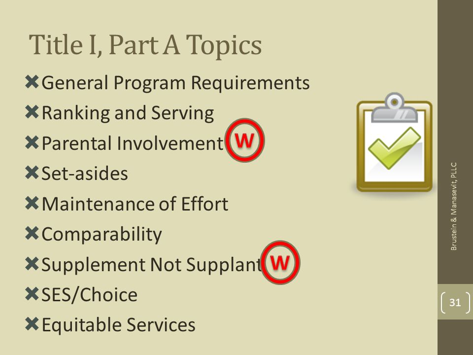 Title I, Part A Topics General Program Requirements Ranking and Serving Parental Involvement Set-asides Maintenance of Effort Comparability Supplement