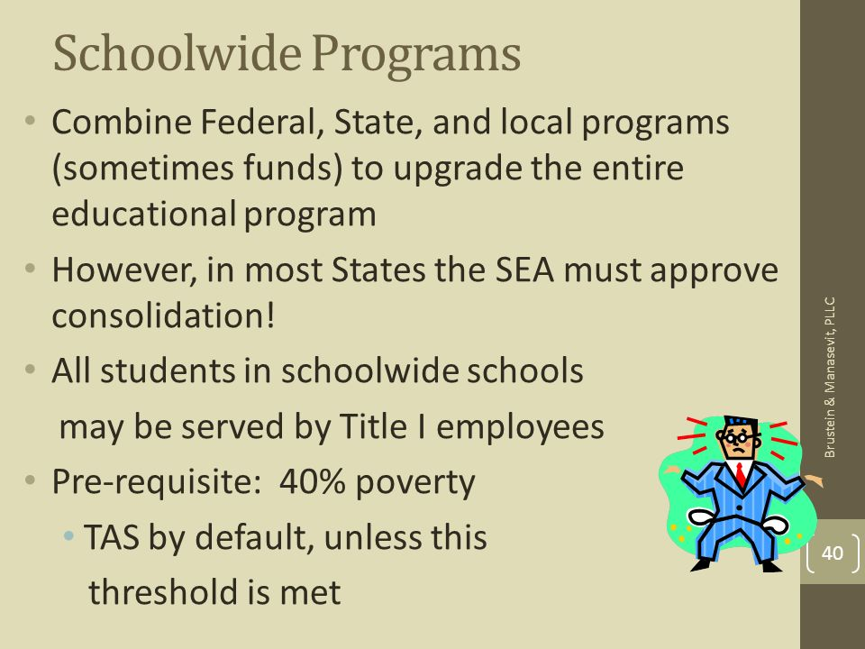 Schoolwide Programs Combine Federal, State, and local programs (sometimes funds) to upgrade the entire educational program However, in most States the