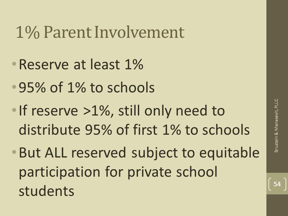 1% Parent Involvement Reserve at least 1% 95% of 1% to schools If reserve >1%, still only need to distribute 95% of first 1% to schools But ALL reserv