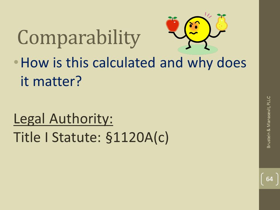 Comparability How is this calculated and why does it matter? Legal Authority: Title I Statute: §1120A(c) 64 Brustein & Manasevit, PLLC