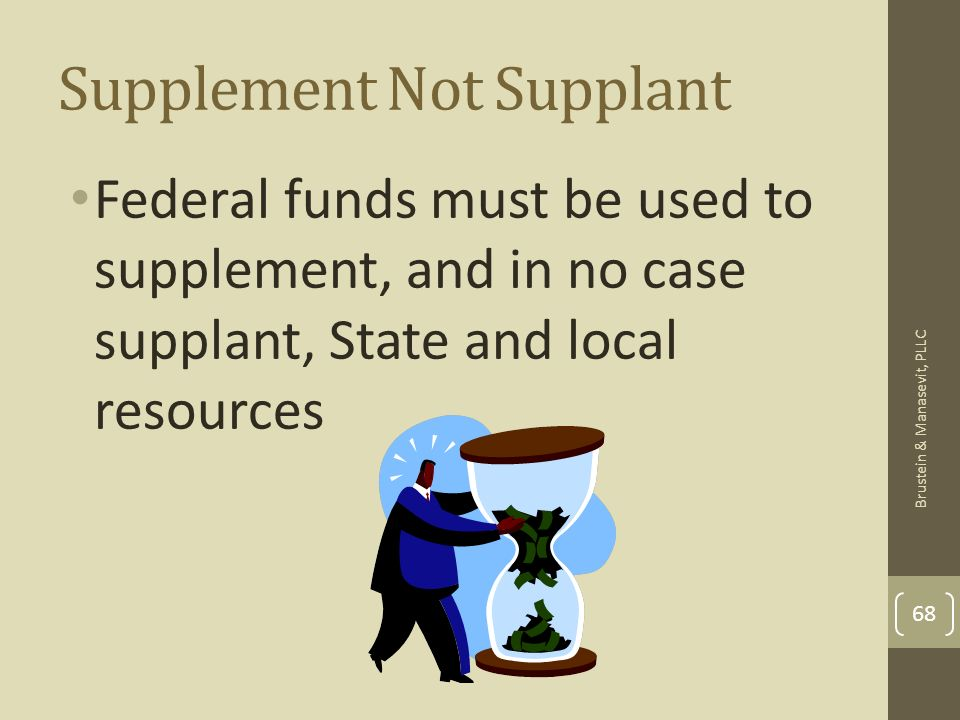 Supplement Not Supplant Federal funds must be used to supplement, and in no case supplant, State and local resources 68 Brustein & Manasevit, PLLC