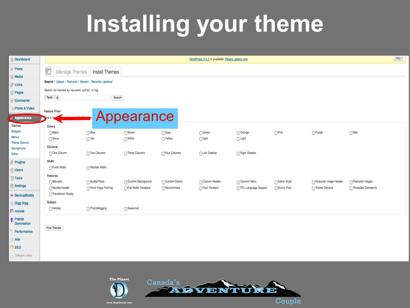 Installing your theme Appearance