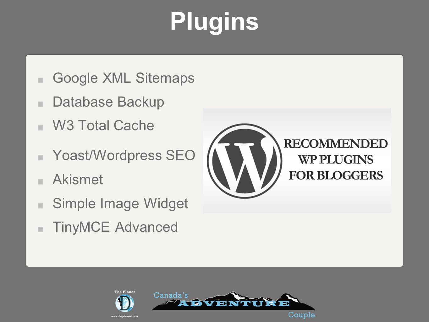 Plugins Google XML Sitemaps Database Backup W3 Total Cache Yoast/Wordpress SEO Akismet Simple Image Widget TinyMCE Advanced