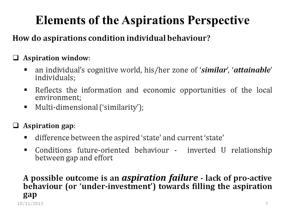 Elements of the Aspirations Perspective How do aspirations condition individual behaviour.