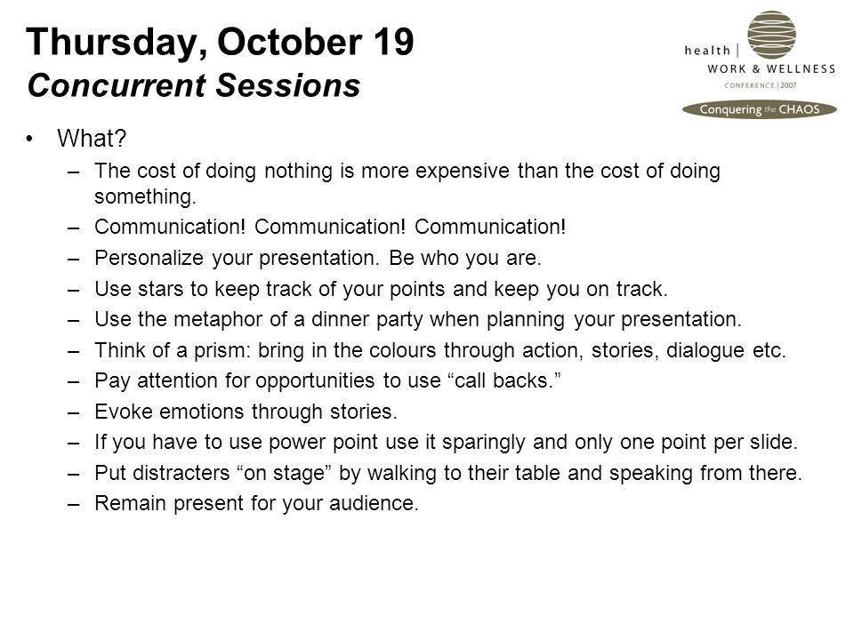 Thursday, October 19 Concurrent Sessions What.