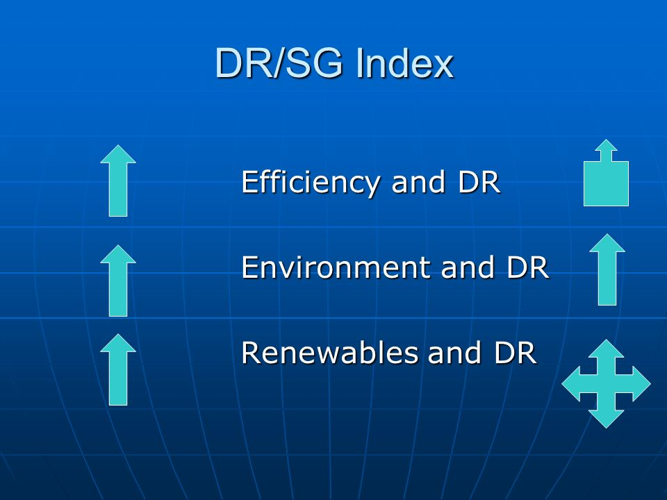 DR/SG Index Efficiency and DR Environment and DR Renewables and DR