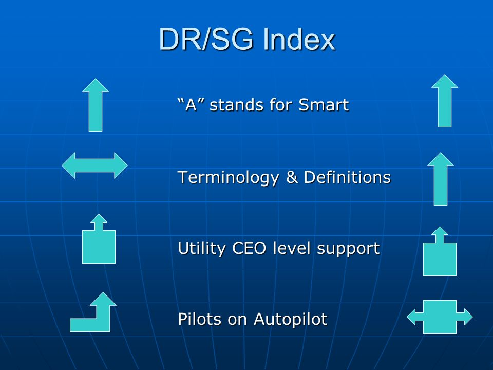 DR/SG Index A stands for Smart Terminology & Definitions Utility CEO level support Pilots on Autopilot