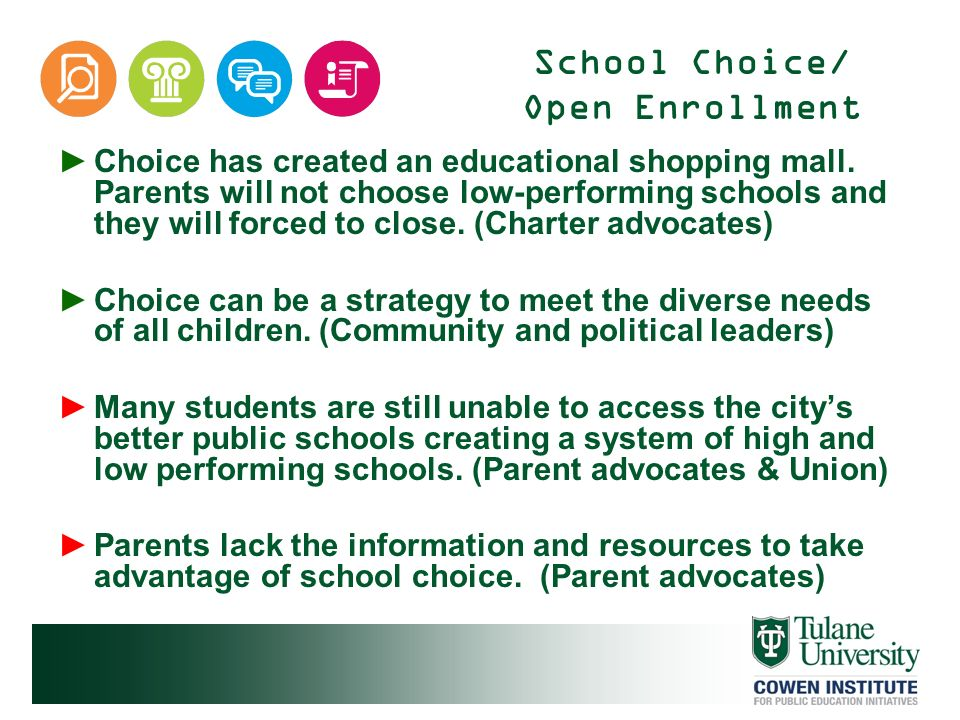 School Choice/ Open Enrollment Choice has created an educational shopping mall. Parents will not choose low-performing schools and they will forced to