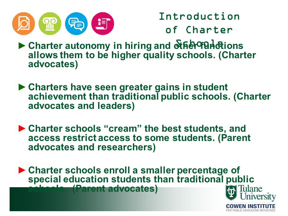 Introduction of Charter Schools Charter autonomy in hiring and other functions allows them to be higher quality schools. (Charter advocates) Charters