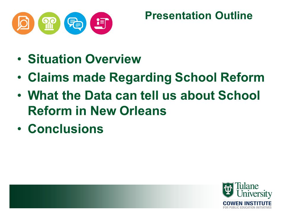 Situation Overview Claims made Regarding School Reform What the Data can tell us about School Reform in New Orleans Conclusions Presentation Outline