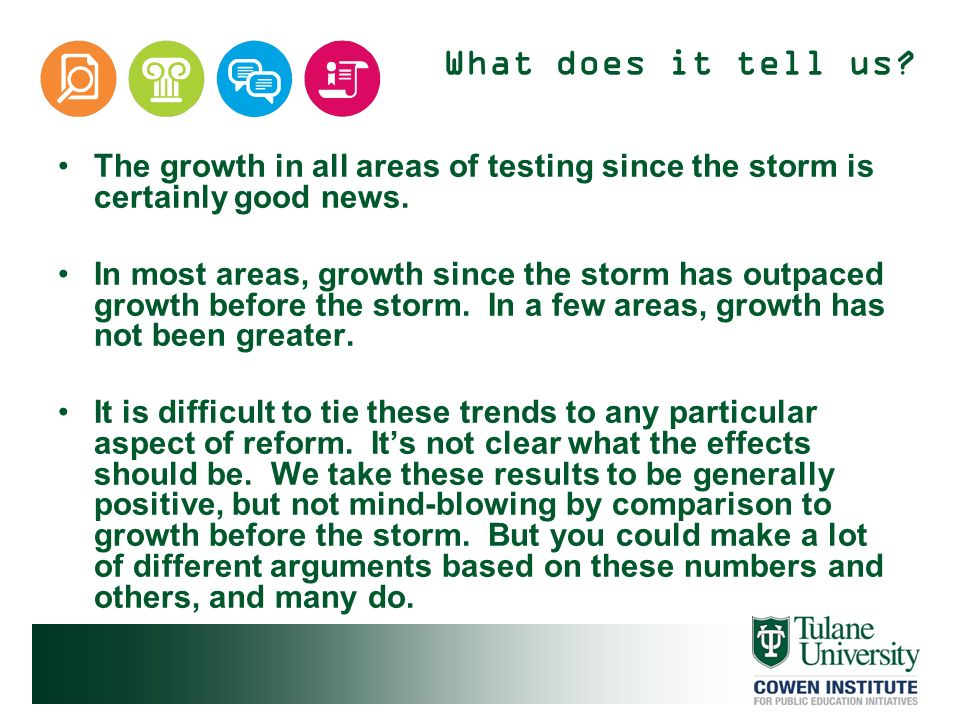 What does it tell us? The growth in all areas of testing since the storm is certainly good news. In most areas, growth since the storm has outpaced gr