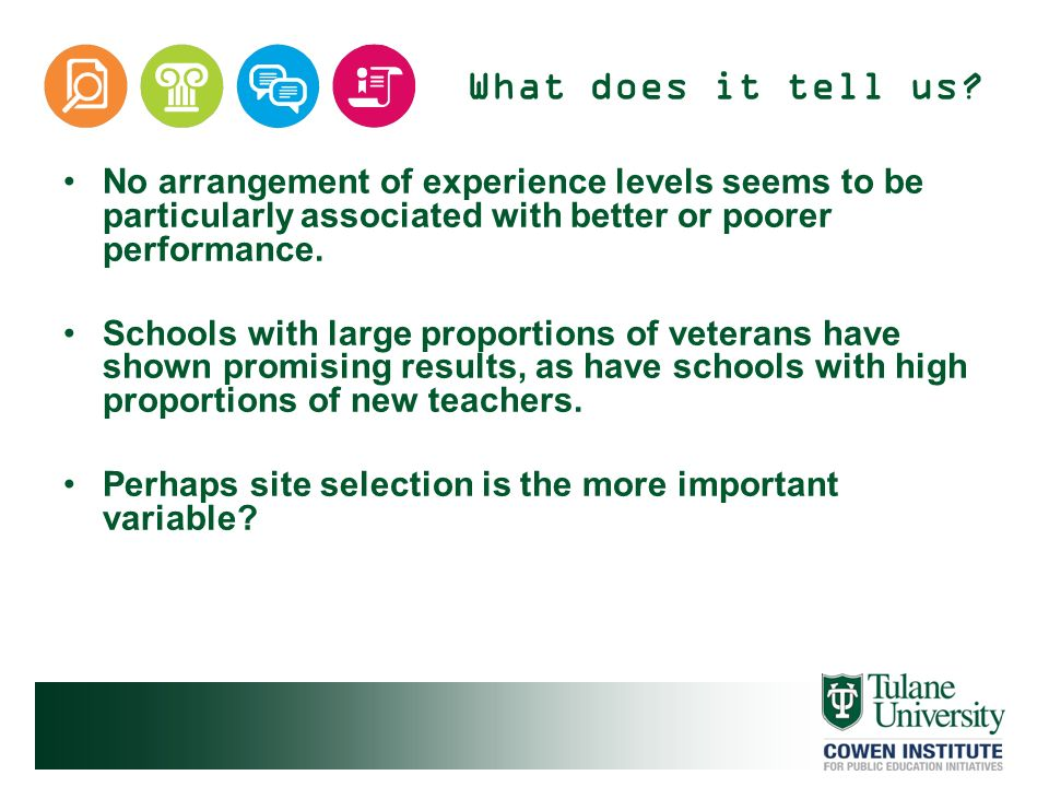 What does it tell us? No arrangement of experience levels seems to be particularly associated with better or poorer performance. Schools with large pr
