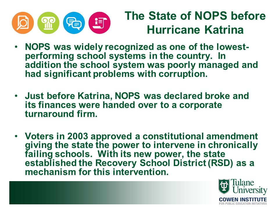 NOPS was widely recognized as one of the lowest- performing school systems in the country. In addition the school system was poorly managed and had si