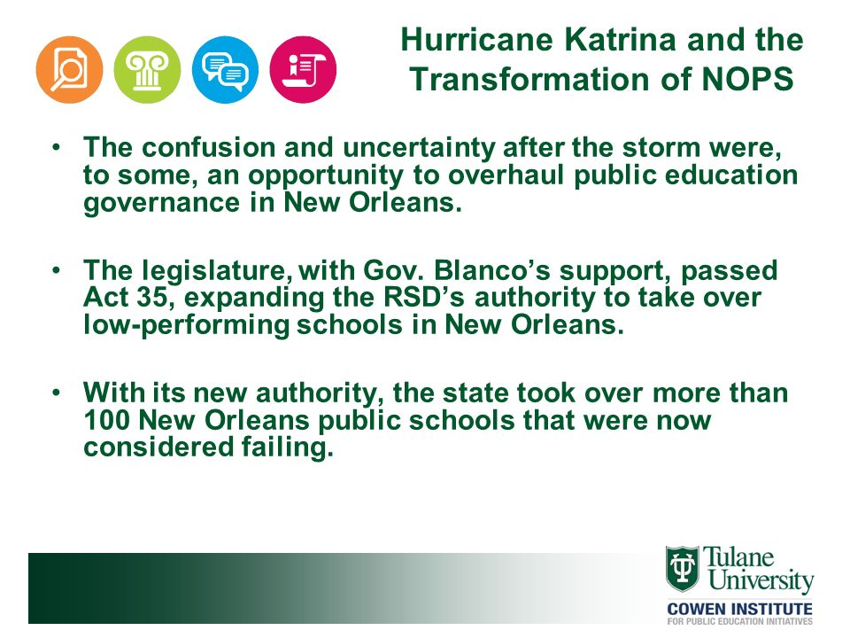 Hurricane Katrina and the Transformation of NOPS The confusion and uncertainty after the storm were, to some, an opportunity to overhaul public educat