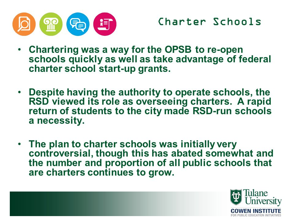 School Choice School choice options prior to Katrina were limited.