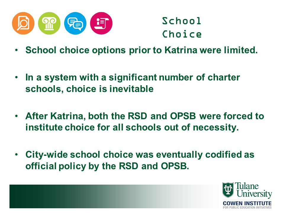School Choice School choice options prior to Katrina were limited. In a system with a significant number of charter schools, choice is inevitable Afte